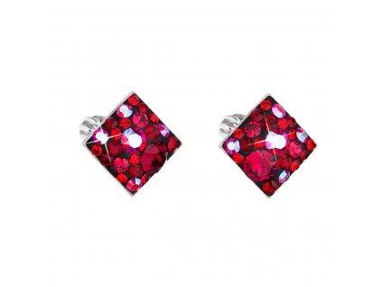 Stříbrné náušnice pecka s krystaly Swarovski červený kosočtverec 31169.3 cherry