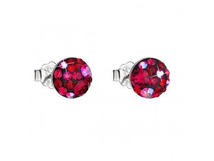 Stříbrné náušnice pecka s krystaly Swarovski červené kulaté 31136.3 cherry