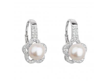 Stříbrné náušnice visací s bílou říční perlou 21046.1