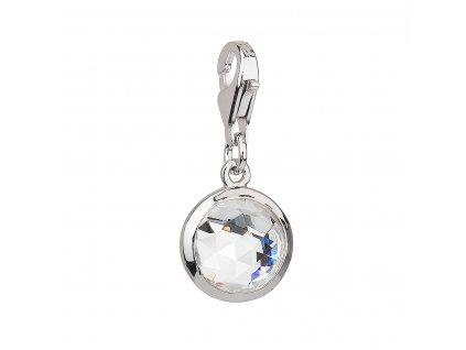 Stříbrný přívěsek s krystaly bílý kulatý 34814.1