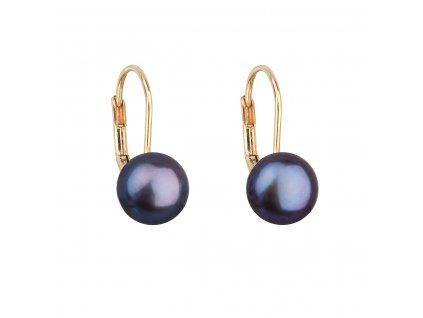 Zlaté 14 karátové náušnice visací s říční perlou 921009.3 peacock
