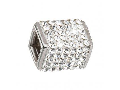 Stříbrný přívěsek s krystaly bílá kostička 34134.1