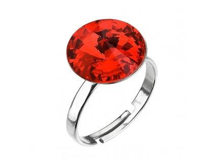 Stříbrný prsten s krystaly červený 35018.3 light siam