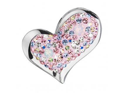 Stříbrný přívěsek s krystaly mix barev srdce 34184.3 magic rose