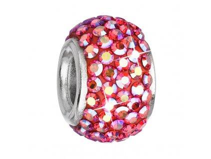 Stříbrný přívěsek s krystaly červený kulatý 734083.4