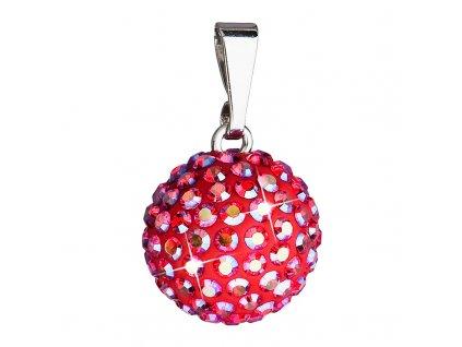Stříbrný přívěsek s krystaly červený kulatý 734080.4