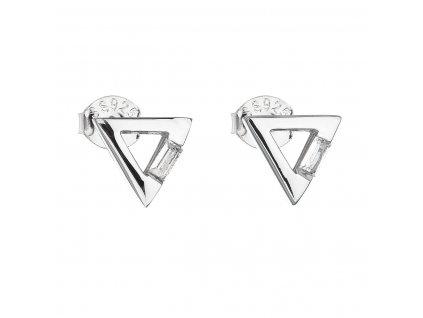 Stříbrné náušnice pecka se zirkonem bílý trojúhelník 11135.1