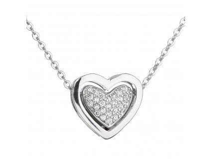 Stříbrný náhrdelník se zirkonem bílé srdce 12029.1