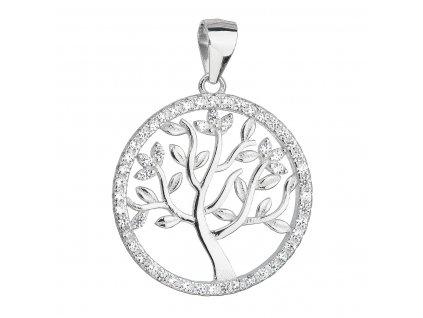 Stříbrný přívěsek se zirkony v bílé barvě strom života 14001.1
