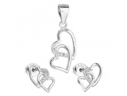 Sada šperků se zirkonem náušnice a přívěsek bílé srdce 19015.1