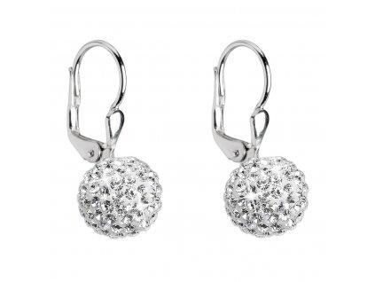 Stříbrné náušnice visací s krystaly Swarovski bílé kuličky 31110.1