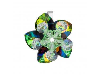 Stříbrný přívěsek s krystalem Swarovski zelená květina 34072.5