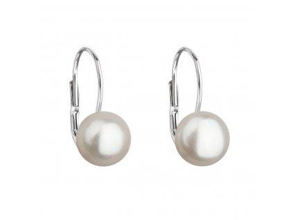 Stříbrné náušnice visací s bílou říční perlou 21044.1