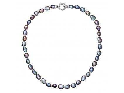 Perlový náhrdelník z pravých říčních perel modrý 22027.3