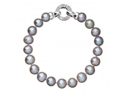 Perlový náramek z pravých říčních perel šedý 23010.3