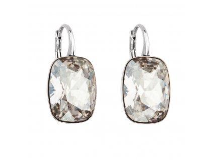 Stříbrné náušnice visací s krystaly Swarovski šedý obdélník 31277.5