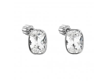 Stříbrné náušnice pecka s krystaly Swarovski bílý obdélník 31279.1