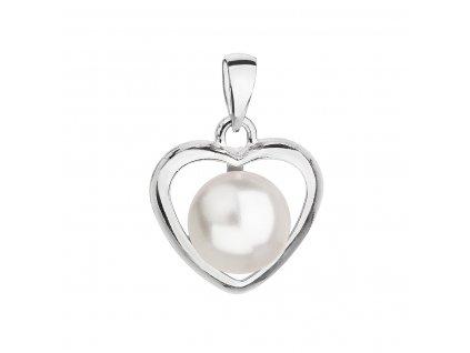 Stříbrný přívěsek s bílou Swarovski perlou srdce 34246.1