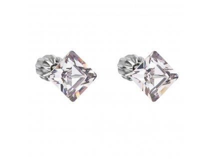 Stříbrné náušnice pecka s krystaly Swarovski šedý čtverec 31065.3