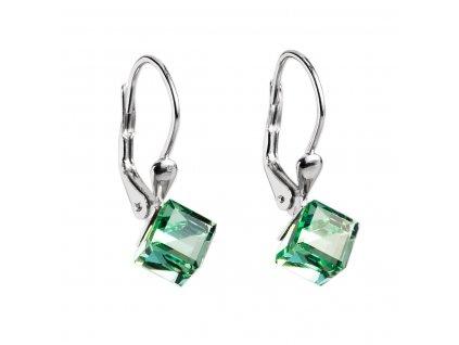 Stříbrné náušnice visací s krystaly Swarovski zelená kostička 31028.3