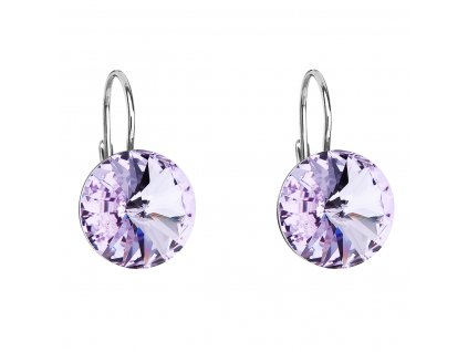 Stříbrné náušnice visací s krystaly Swarovski fialové kulaté 31106.3 violet