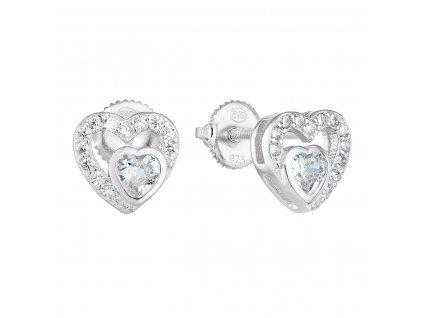 Stříbrné náušnice pecka se zirkonem bílé srdce 11288.1