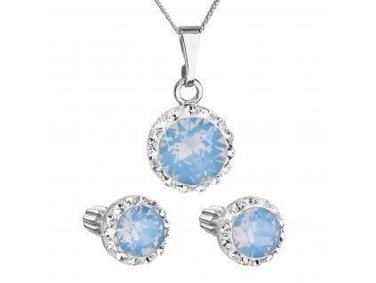Sada šperků s krystaly Swarovski náušnice, řetízek a přívěšek modré opálové kulaté 39352.7