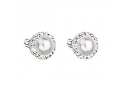 Stříbrné náušnice pecka s krystaly Swarovski a bílou perlou kulaté 31314.1
