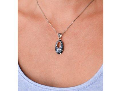 Sada šperků s krystaly Swarovski náušnice a přívěsek modrý ovál 39075.3 blue style