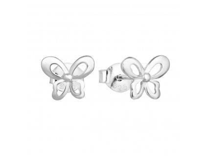 Stříbrné náušnice pecka se zirkonem bílý motýl 11060.1