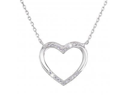 Stříbrný náhrdelník se zirkonem bílé srdce 12010.1