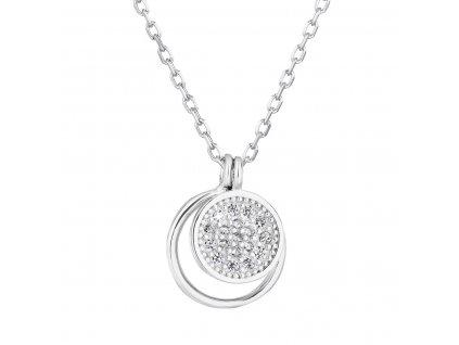 Stříbrný náhrdelník se zirkonem bílý kulatý 12011.1