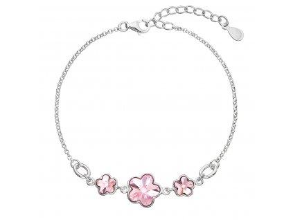 Stříbrný náramek se Swarovski krystaly růžová kytička 33112.3 light rose
