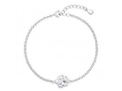 Stříbrný náramek se Swarovski krystaly bílá kytička 33117.1