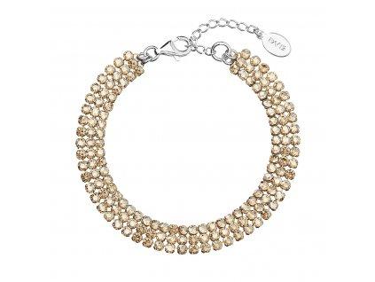 Stříbrný náramek zlatý se Swarovski krystaly 73033.3