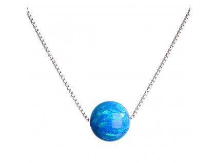 Stříbrný náhrdelník se syntetickým opálem modrý kulatý 12044.3