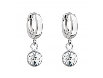 Stříbrné visací náušnice kroužky se Swarovski krystalem 31300.1 bílé