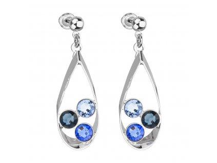 Náušnice bižuterie se Swarovski krystaly mix barev modrá slza 51064.3