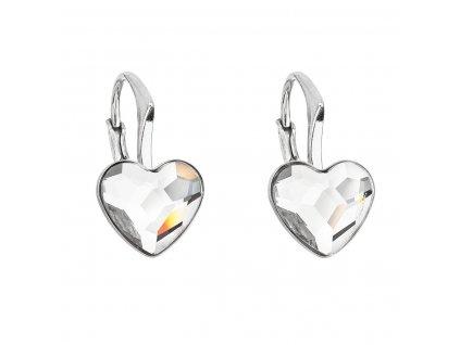 Stříbrné náušnice visací s krystaly Swarovski bílé srdce 31240.1
