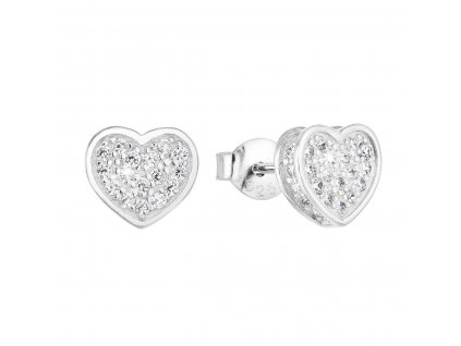 Stříbrné náušnice pecka se zirkonem bílé srdce 11032.1
