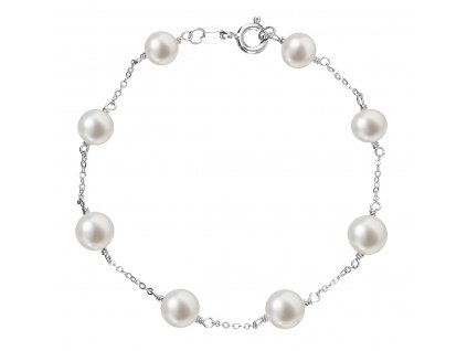 Perlový náramek z pravých říčních perel bílý 23008.1