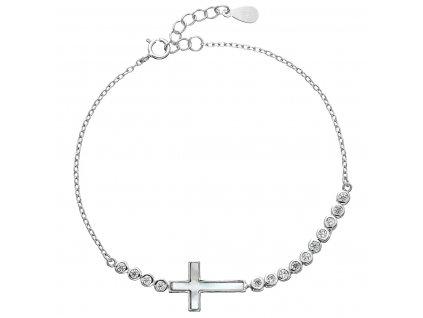 Stříbrný náramek se zirkony křížek 13016.1