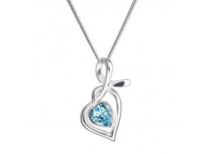 Stříbrný náhrdelník se Swarovski krystaly srdce modré 32071.3