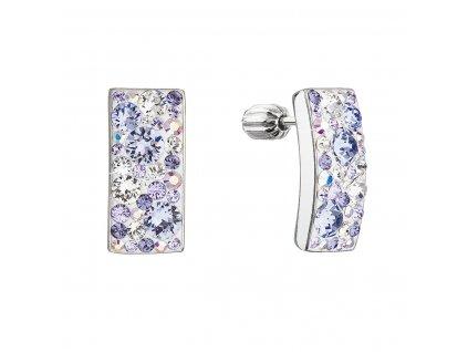 Stříbrné visací náušnice se Swarovski krystaly fialový obdélník 31303.3 violet