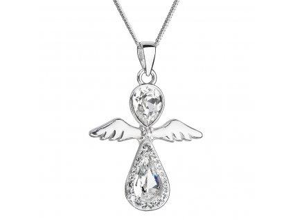Stříbrný náhrdelník anděl se Swarovski krystaly bílý 32072.1