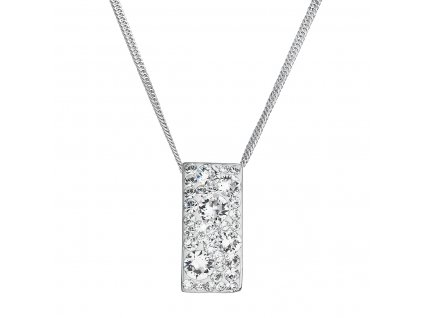 Stříbrný náhrdelník se Swarovski krystaly bílý obdélník 32074.1