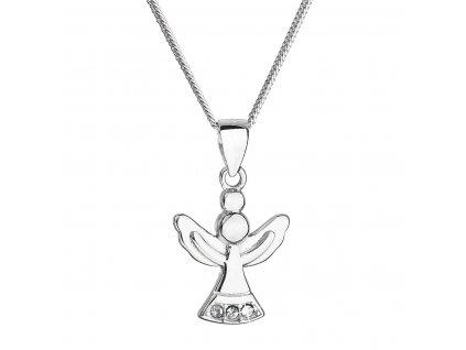 Stříbrný náhrdelník anděl se Swarovski krystaly bílý 32078.1