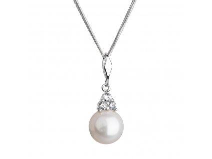 Stříbrný náhrdelník s kulatou řícní perlou a zirkony 22033.1