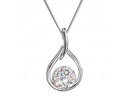 Stříbrný náhrdelník se Swarovski krystaly kapka 32075.2 bílá s ab efektem