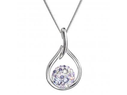 Stříbrný náhrdelník se Swarovski krystaly kapka 32075.3 violet